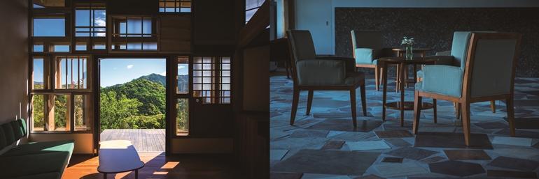 景色と椅子